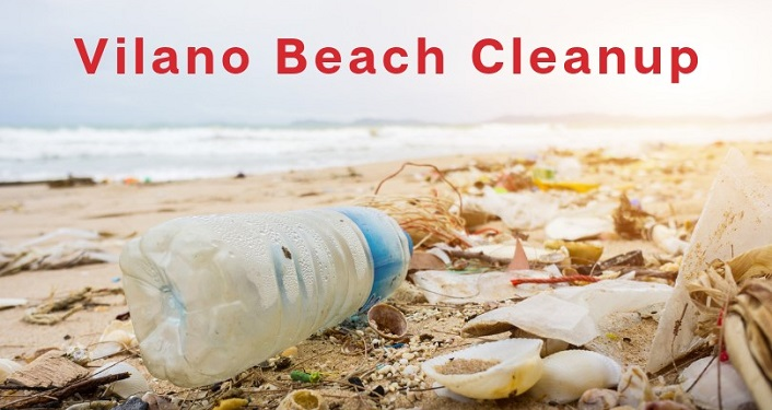 text in red; Vilano Beach Cleanup above image of water bottle and other garbage on the seashore