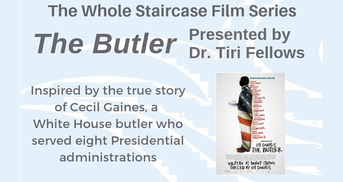 text Whole Staircase Film Series - The Butler with very small image of silhoutte from the side of butler holding a serving dish