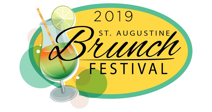 Yellow oval with text, 2019 St. Augustine Brunch Festival in black font. on the left is image of drink with umbrella sticking out of glass