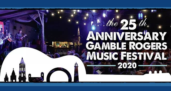 dark blue background with stage at nighttime. In forefront is caricature of guitar laying on its' side, images of skyline in the guitar. Text 25th Anniversary Gamble Rogers Music Festival