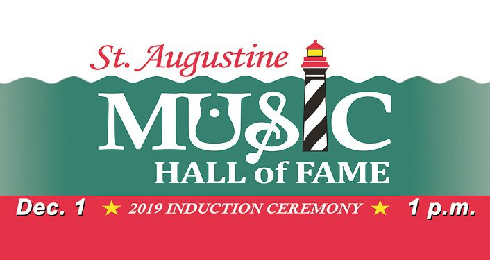 """text 2nd Annual St. Augustine Music Hall of Fame Induction Ceremony, there is an image of lighthouse used for the """"i"""" in music"""