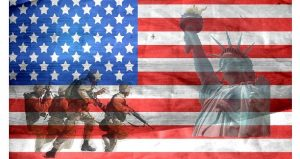 image of American Flag with Statue of Liberty shadowed in on right side; four soldiers dressed in combat gear, holding rifles on left side