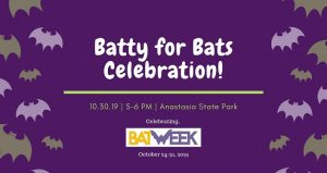 purple background with white text, Batty for Bats Celebration
