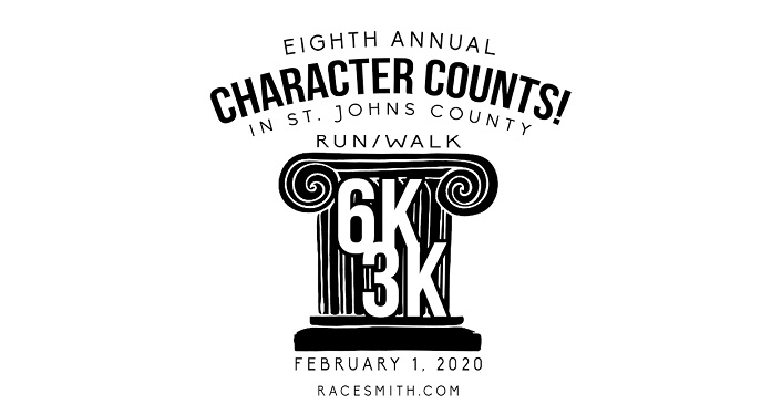 Text in black font on whtie background; Character Counts! in St. Johns Six Pillars 6K/3K Run/Walk, February 1, 2020