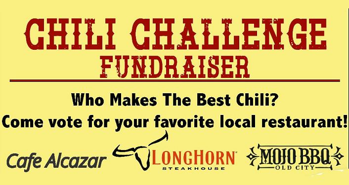 yellow background, text in red Chili Challenge Fundraiser. text in black, Who Make The Best Chili? Vote for your favorite local restaurant. Logo for Calfe Alcazar, Longhorn, and Mojo BBQ