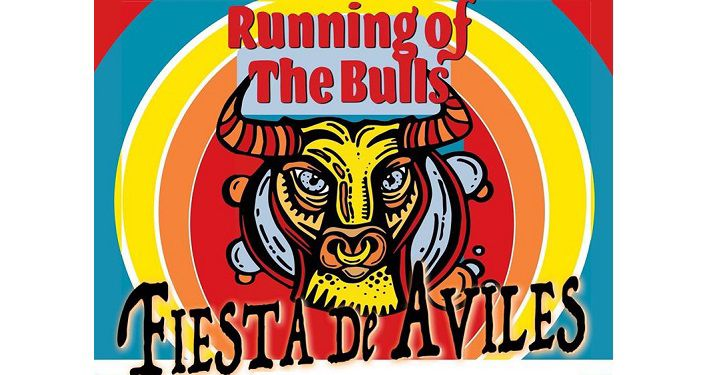 poster with face of a bull and text Fiesta De Aviles, Running of the Bulls