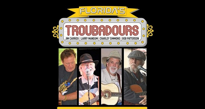 text Florida's Troubadours; underneath 4 separate images compiled of men standing playing guitars, singing into microphones