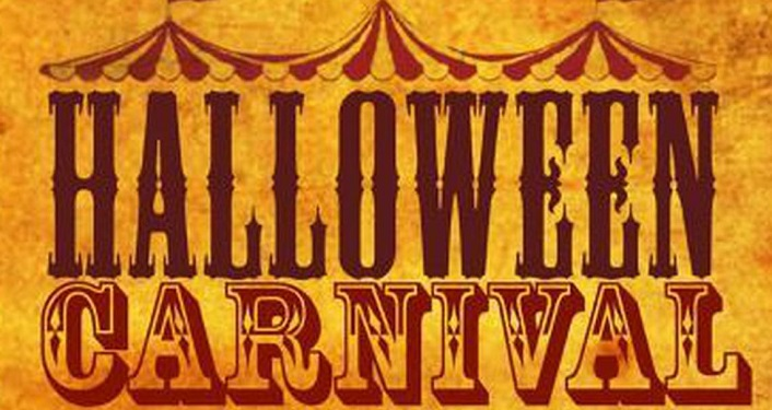 burnt orange background with outline of big top tient; text Halloween Carnival
