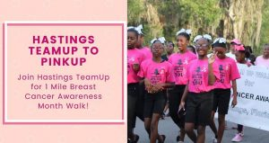 text in dark pink, Hastings Breast Cancer Awareness Walk; on right side is image of several young girls wearing hot pink t-shirts and black pants, white ribbons in their hair participating in the walk.