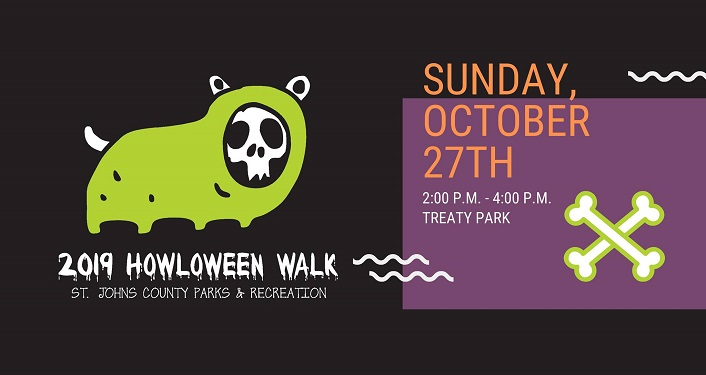 caricature of small animal dressed in green with skull face; text Howloween Walk Sunday, October 27th