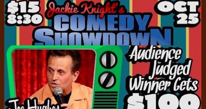 Text in blue letters on striped background; Jackie Knight's Comedy Showdown. Image of man in green framed TV screen, text Audience Judged Winner Gets $100