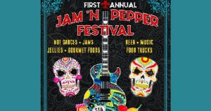 text first annual Jam 'n Pepper Festival above image of 2 colorful skulls flanking a guitar in pyschedilc colors