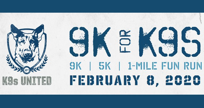 caricature image of german shephers on left-side, with text K9s United 9K|5K|1 Mile Fun Run, February 8, 2020