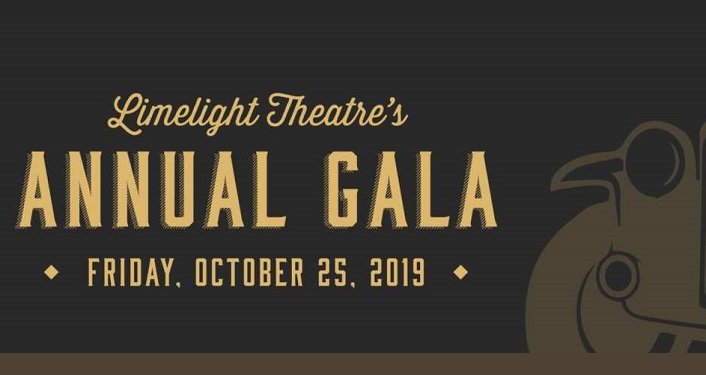 Black background with gold text, Limelight Theatre's Annual Gala, Friday, October 25, 2019