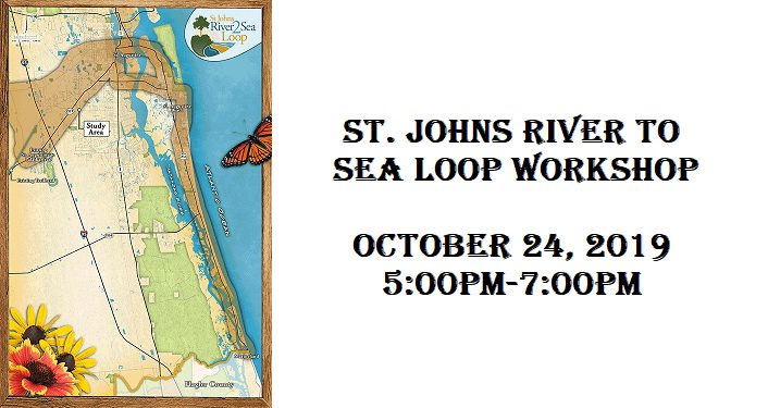 text St Johns River to Sea Loop. October 24, 2019. colored map on left of st. johns, flagler counties with proposed route