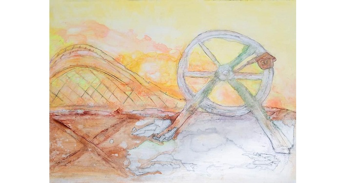 iamge of painting in Abandoned series by Michelle Davidson; soft oranges yellows, blues, with image of empty ferris wheel slightly distorted