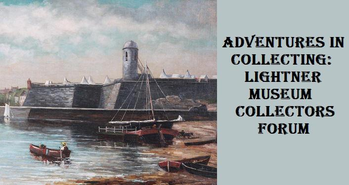 painting with an old fort wall in background, row boat on the shore featured in Adventures in Collecting: Lightner Museum Collectors Forum