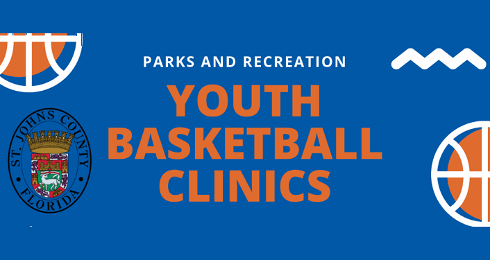 flyer with blue background, in middle in orange words Youth Basketball Clinics, in top left & bottom right image of basketball; bottom left Park's & Rec logo