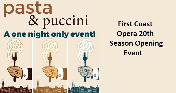 text Pasta & Puccini - First Coast Opera's 20th Season Opening Event. caricature image of hand holding fork upright twirling pasta