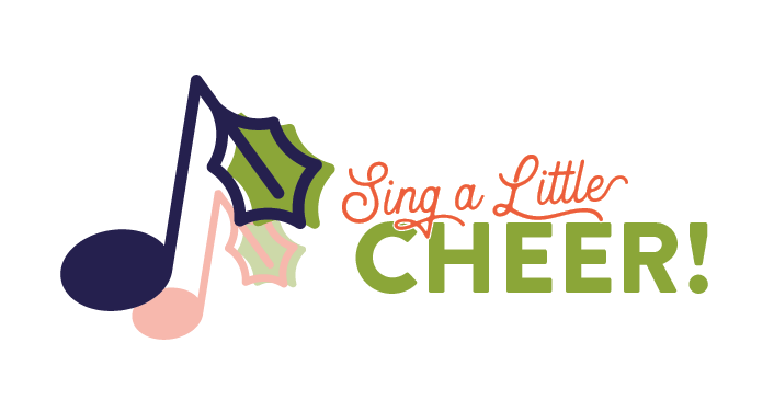 musical note with top a holly leaf; text Sing A Little Cheer