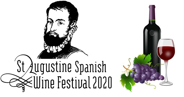 drawing in black of head of Spanish nobleman with black beard; above text St. Augustine Spanish Wine Festival 2020. On right is caricature bottle of wine, wine glass, and bunch of purple grapes