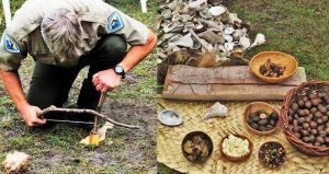 image to left is park ranger bent over starting a fire by rubbing two sticks togehter; image to right is examples of nuts, berries, fish - both seen during the Timucuan Program