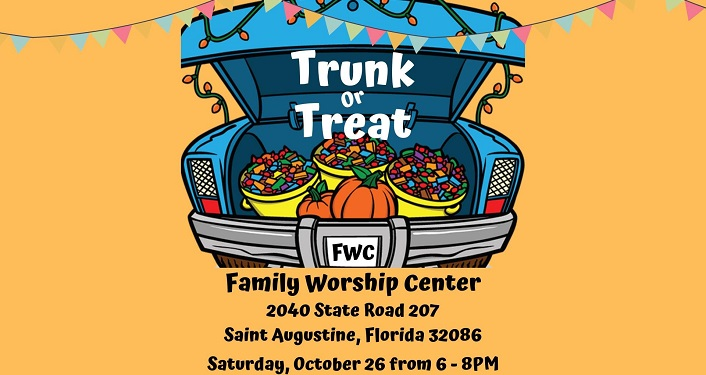caricature open car trunk with words Trunk or Treat Family Worship Center, baskets of candy inside trunk