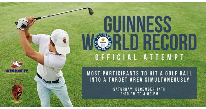 image on left of male golfer swinging golf club. On right is text; Guinness World Record Official Attempt