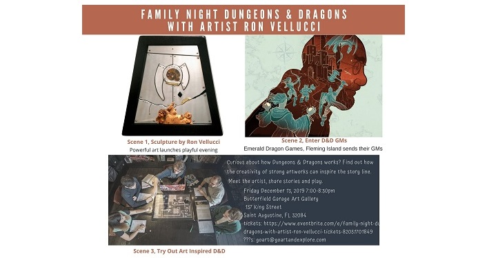 text: Family Night Dungeons & Dragons with Artist Ron Vellucci with various images of abstract art