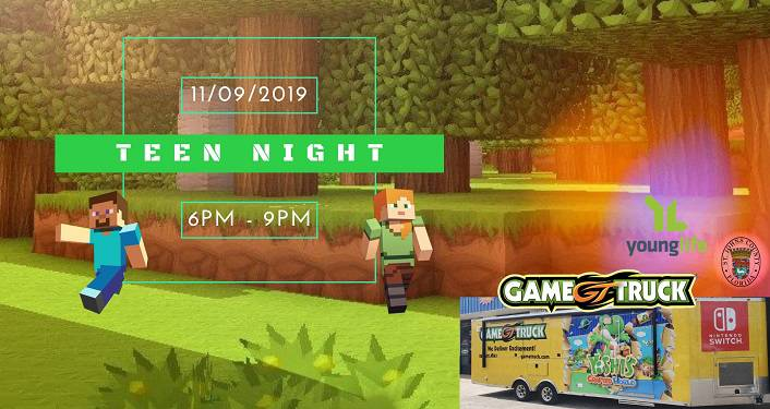 Image of a video game screen with text overlaid; Game Truck! Middle School Teen Night