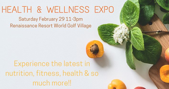 text, Health & Wellness Expo with image of kumquats and green leaves