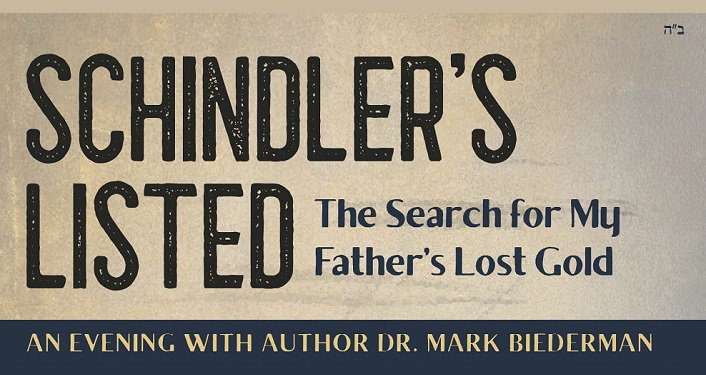 text in dark navy over taupe background; Schindler's Listed The Search for My Father's Lost Gold