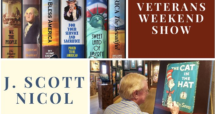 top half of image is of books on a shelf, text Veteran's Day Weekend; bottom half of image on left is text, J Scott Nicol; to right is image of older man wearing a blue & whtie striped shirt sitting at an easel that has cover of a Dr. Suess book