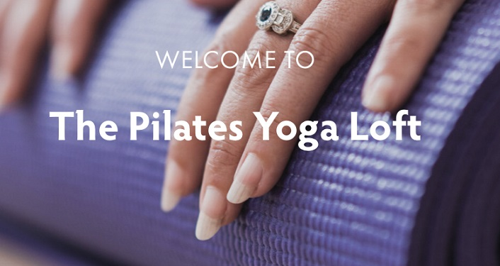 image of purple yoga mat with text overlaying image; Pliates Yoga Loft