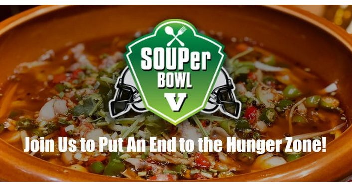 text, SOUPer Bowl V with image of pizza in the background