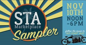 dark turquiose background with text; STA Marketplace Sampler, Nov 10th, Noon - 6PM