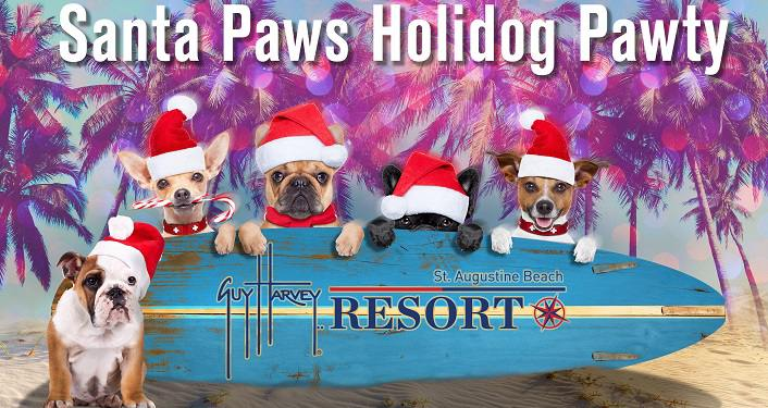 text in white; Santa Paws Holidog Pawty. below are five pups wearing Santa hats sitting behind blue surfboard on its' side