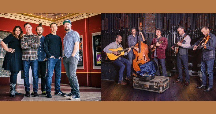 press photo; left-side Yonder Mountain String Band - 1 woman, 3 men staning in a room with red walls; right-side The Travelin' McCourys - 4 men standing playing instruments; one a guitar, one a bass, one a mandolin, one a fiddle
