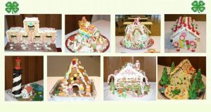 eight images of gingerbread houses, including one with a lighthouse - seen at the 4-H Gingerbread House Exhibit