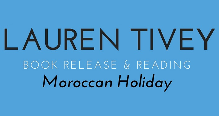 blue background, text in black;Lauren Tivey, Book Release and Reading