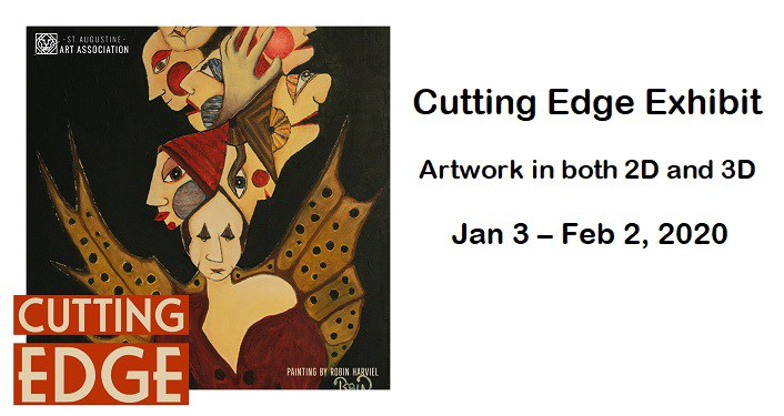 text Cutting Edge Exhibit...Artwork in 2D & 3D, Jan 3-Feb 2, 2020. on left image of women overlapping each other