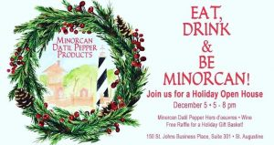 Christmas Wreath with text in red; Holiday Open House Minorcan Datil Pepper Products. Eat, Drink, and Be Minorcan