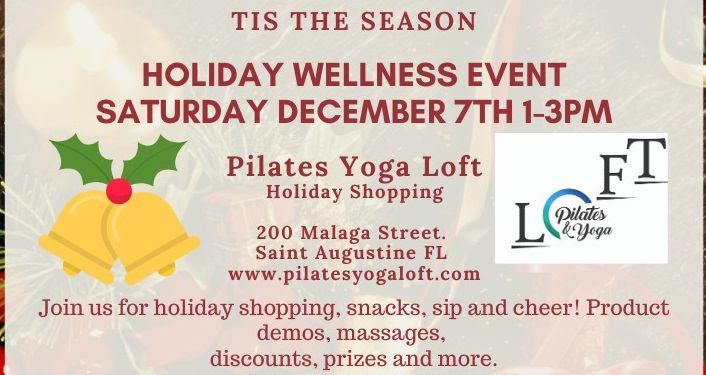 text; Holiday Wellness Event Saturday, December 7th 2019