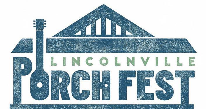 image of outline of house in blue with text across the front: Lincolnville Porch Fest