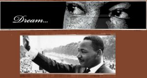 bottom - black & white image of left side of Martin Luther King standing with right arm outstretched