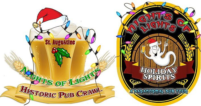 cartoon holiday images with santa hats and lights; text on left NOL Historic Pub Crawl, text on right NOL Paranormal Pub Crawl