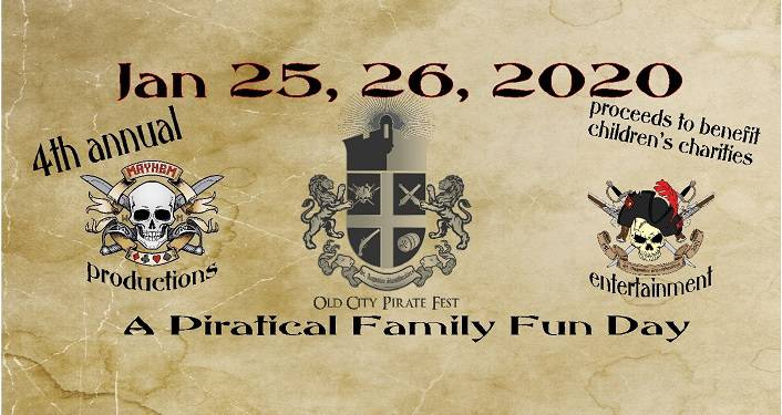 text on brown parchment coloring; Old City Pirate Fest January 25, 26 2020