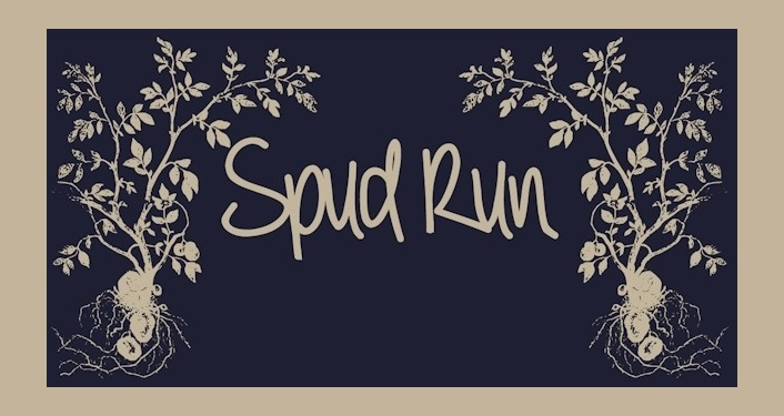 text in light gold on dark blue background; Spud Run