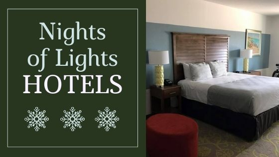 "Image contains text that reads ""St. Augustine Nights of Lights"" as well as a spacious hotel room with a bed and end table."