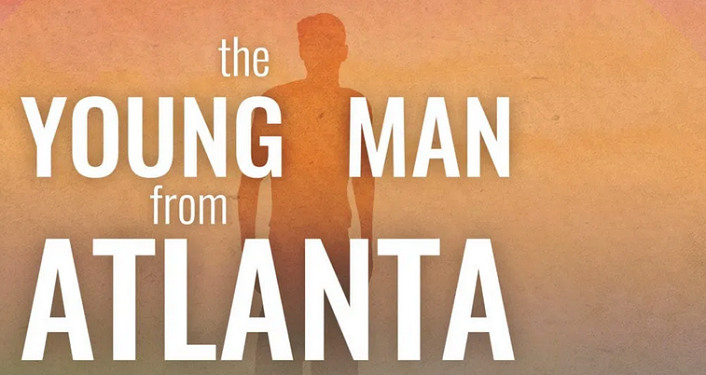 Lettering in white on orange background; the Young Man from Atlanta. silhoutte of male figure in darker orange superimposed over lighter orange